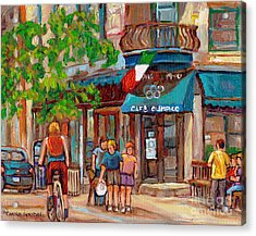 Cafe Olimpico-124 Rue St. Viateur-montreal Paintings-sports Bar-restaurant-montreal City Scenes Acrylic Print by Carole Spandau