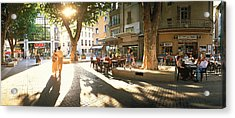 Cafe, Orange, Provence France Acrylic Print by Panoramic Images