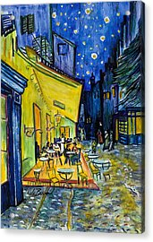 Cafe Terrace At Night Acrylic Print by Dale Bernard