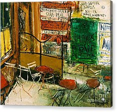 Cafe Terrace With Posters Acrylic Print by Pg Reproductions