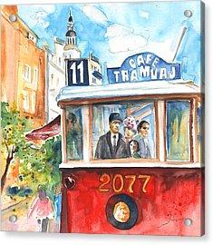 Cafe Tramvaj In Prague Acrylic Print by Miki De Goodaboom