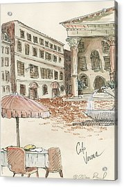 Cafe Verona Acrylic Print by Alan Paul