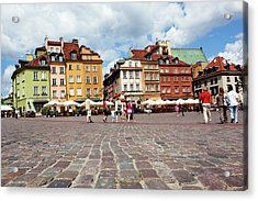 Cafes And Restaurants In Cobblestoned Acrylic Print by Dan Herrick