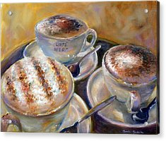 Acrylic Print featuring the painting Caffe Nero by Bonnie Goedecke