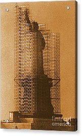 New York Lady Liberty Statue Of Liberty Caged Freedom Acrylic Print by Michael Hoard