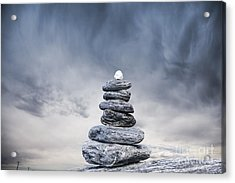 Cairn And Stormy Sky Acrylic Print by Colin and Linda McKie