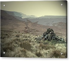 Cairn Near Westend Moss, Boggy Path Leading Off The Moor Acrylic Print