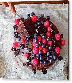 Cake With Berries Acrylic Print by Shilpa Harolikar