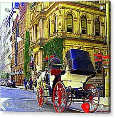 Caleche Ride By The Hotel Le St James Vieux Port Montreal Old World Charm And Elegance C Spandau Art Acrylic Print by Carole Spandau