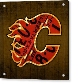 Calgary Flames Hockey Team Retro Vintage Logo Recycled Alberta Canada License Plate Art  Acrylic Print by Design Turnpike