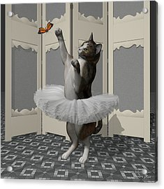 Calico Ballet Cat On Paw-te Acrylic Print by Andre Price