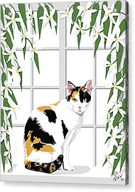 Calico Cat And Clematis Acrylic Print by Artellus Artworks
