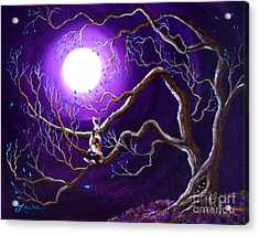 Calico Cat In Haunted Tree Acrylic Print by Laura Iverson
