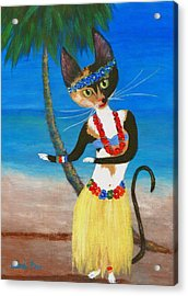 Calico Hula Queen Acrylic Print by Jamie Frier