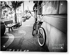 California Beach Cruiser Bike Black And White Photo Acrylic Print by Paul Velgos