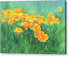 California Golden Poppies Field Bright Colorful Landscape Painting Flowers Floral K. Joann Russell Acrylic Print
