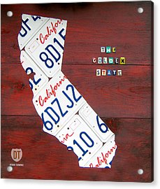 California License Plate Map Acrylic Print by Design Turnpike