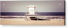 California Lifeguard Tower Retro Panoramic Picture Acrylic Print