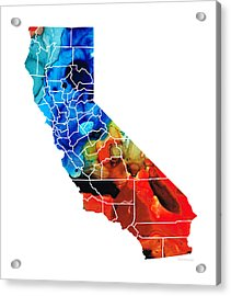 California - Map Counties By Sharon Cummings Acrylic Print by Sharon Cummings