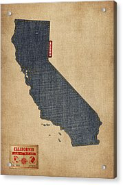 California Map Denim Jeans Style Acrylic Print by Michael Tompsett