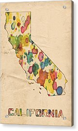 California Map Vintage Watercolor Acrylic Print
