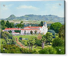 California Mission San Luis Rey Acrylic Print by Mary Helmreich