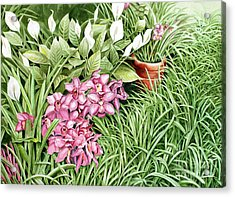 Acrylic Print featuring the painting California Sidewalk by Debbie Hart