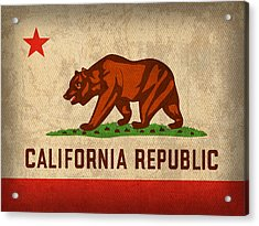 California State Flag Art On Worn Canvas Acrylic Print by Design Turnpike