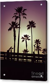 California Sunset Picture With Palm Trees Acrylic Print by Paul Velgos