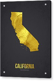 California The Golden State Acrylic Print by Aged Pixel