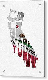California Typographic Map Flag Acrylic Print by Ayse Deniz