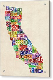 California Typography Text Map Acrylic Print by Michael Tompsett