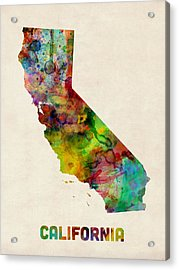 California Watercolor Map Acrylic Print by Michael Tompsett