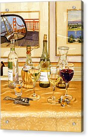 California Wine And Watercolors Acrylic Print by Mary Helmreich