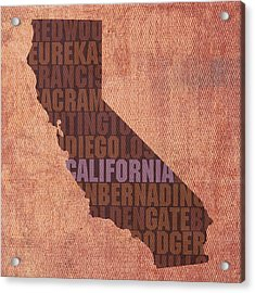 California Word Art State Map On Canvas Acrylic Print