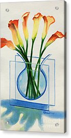 Acrylic Print featuring the painting Calla Lilies by Kathy Braud