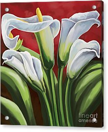 Acrylic Print featuring the painting Calla Lilies  by Tim Gilliland