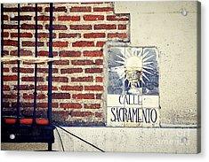 Calle Sacramento Madrid Street Sign Acrylic Print