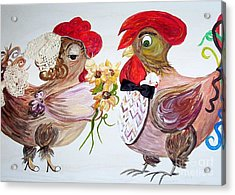 Calling All Chicken Lovers Say I Do Acrylic Print by Eloise Schneider