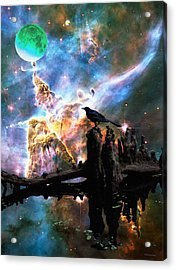 Calling The Night - Crow Art By Sharon Cummings Acrylic Print by Sharon Cummings