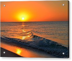 Calm And Clear Sunrise On Navarre Beach With Small Perfect Wave Acrylic Print by Jeff at JSJ Photography