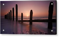 Camber Sands Sunset Acrylic Print by Mark Leader