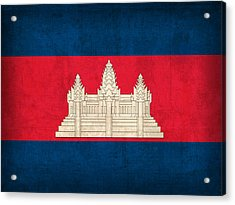 Cambodia Flag Vintage Distressed Finish Acrylic Print