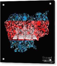 Cambodia Map Flag Acrylic Print by Marion De Lauzun