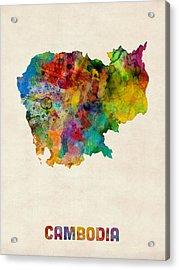 Cambodia Watercolor Map Acrylic Print by Michael Tompsett