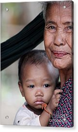 Acrylic Print featuring the photograph Cambodian Grandmother And Baby #3 by Nola Lee Kelsey