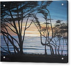 Acrylic Print featuring the painting Cambria Cypress Trees At Sunset by Ian Donley