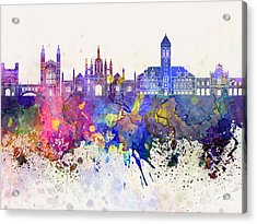 Cambridge Skyline In Watercolor Background Acrylic Print by Pablo Romero