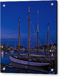 Camden Harbor Maine At 4am Acrylic Print by Marty Saccone