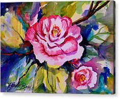 Camellia Prisms Original Sold Prints Available Acrylic Print by Therese Fowler-Bailey
